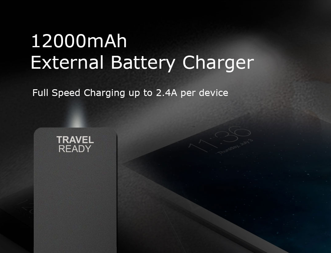 Travel Ready - 12000mAh External Battery Charger