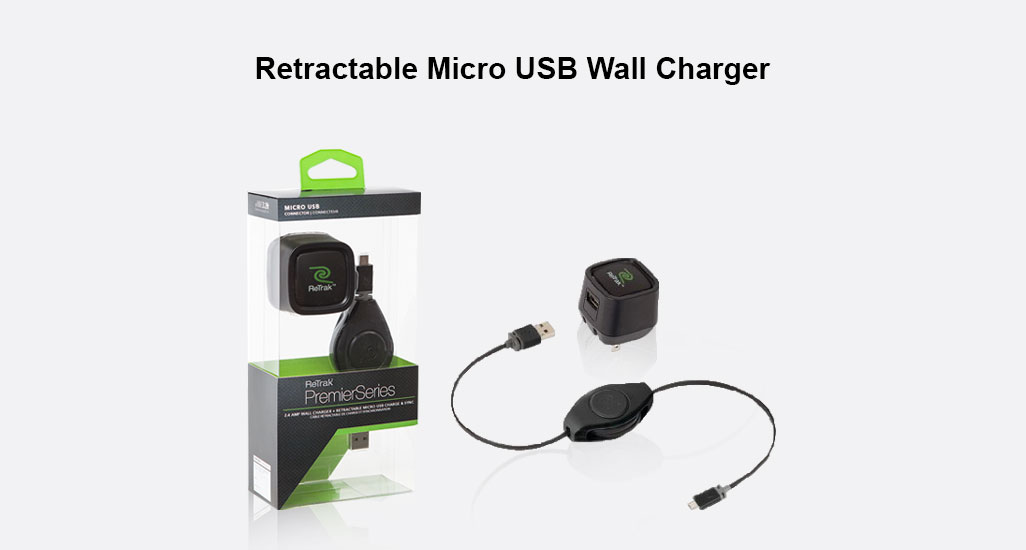 Retractable Micro USB Wall Charger